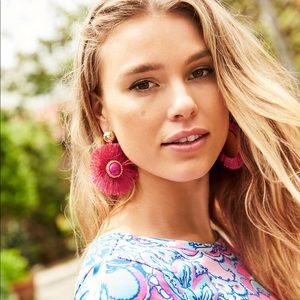 Lilly Pulitzer Fan-Tastic Earrings Pink Tropics